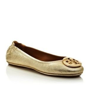 Tory Burch MINNIE TRAVEL BALLET FLAT METALLIC